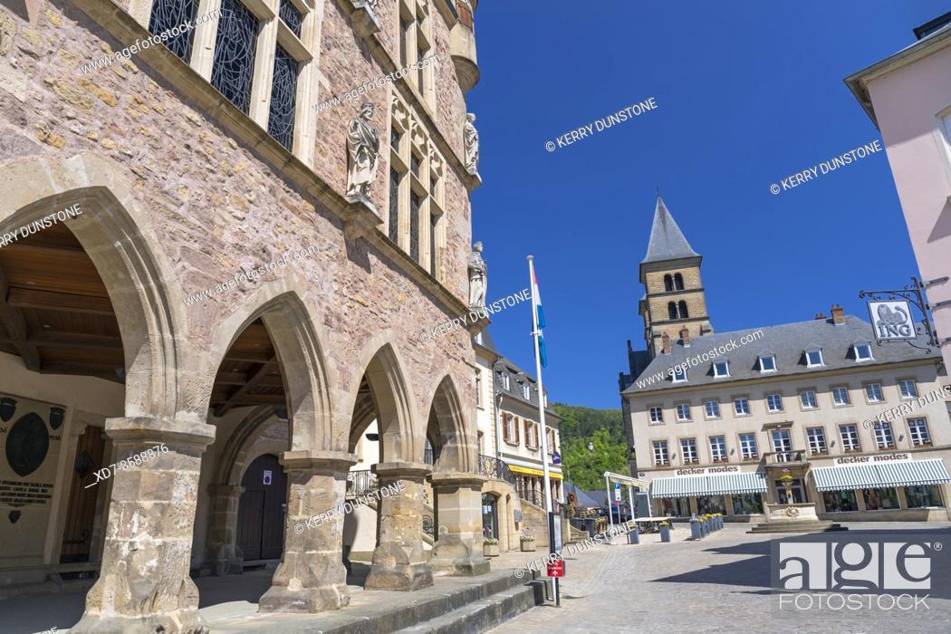 Imagen: Europe, Luxembourg, Echternach, Denzelt (Historic Courthouse) on the corner of Place du Marche.