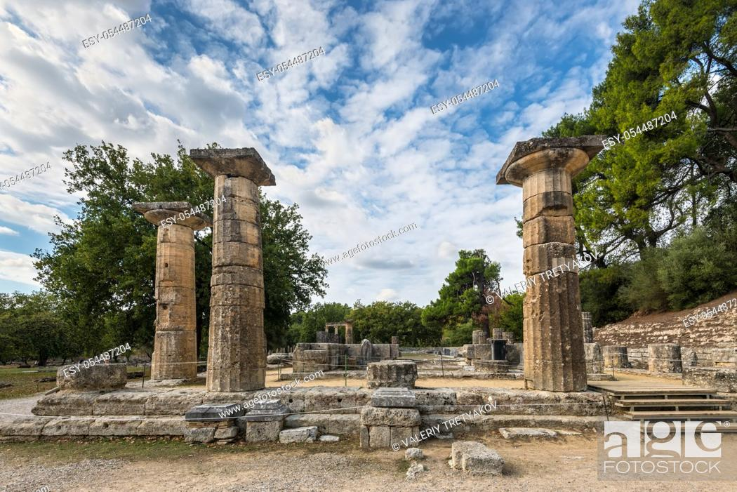 Stock Photo: Ruins of the Temple of Hera, Olympia, Greece.