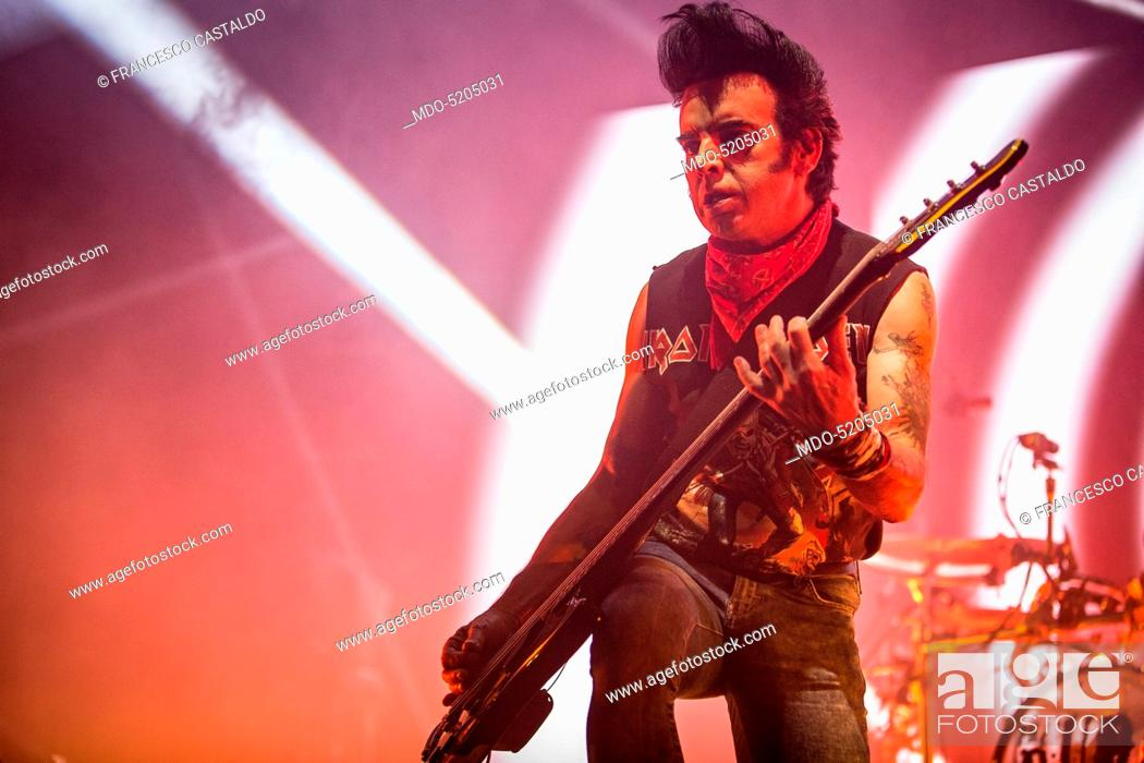Musician Simon Gallup, bassist of The Cure, in concert at