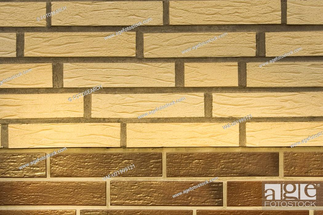 Stock Photo: Beige, Brick, Brick Wall, Brown, Close-Up.