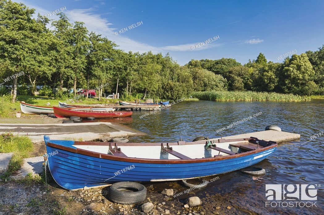 Photo de stock: Rowing boats moored on the shore of Lough Corrib near Derrymoyle, in the Connemara, County Galway, Republic of Ireland. Eire.