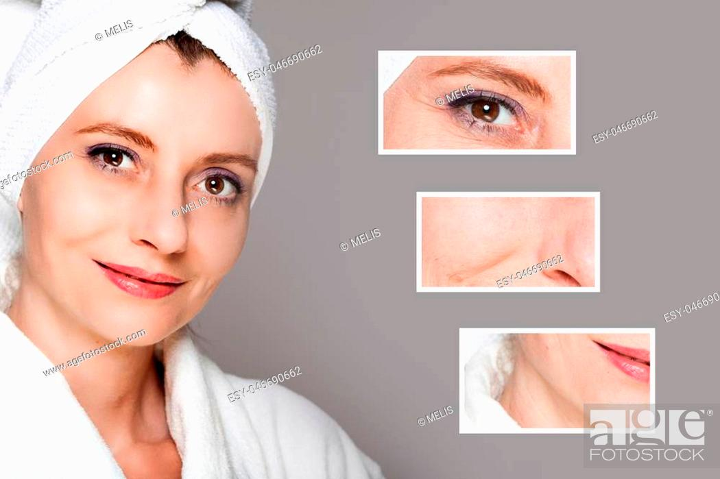 Imagen: happy woman after beauty treatment - before/after shots - skin care, anti-aging procedures, rejuvenation, lifting, tightening of facial skin.