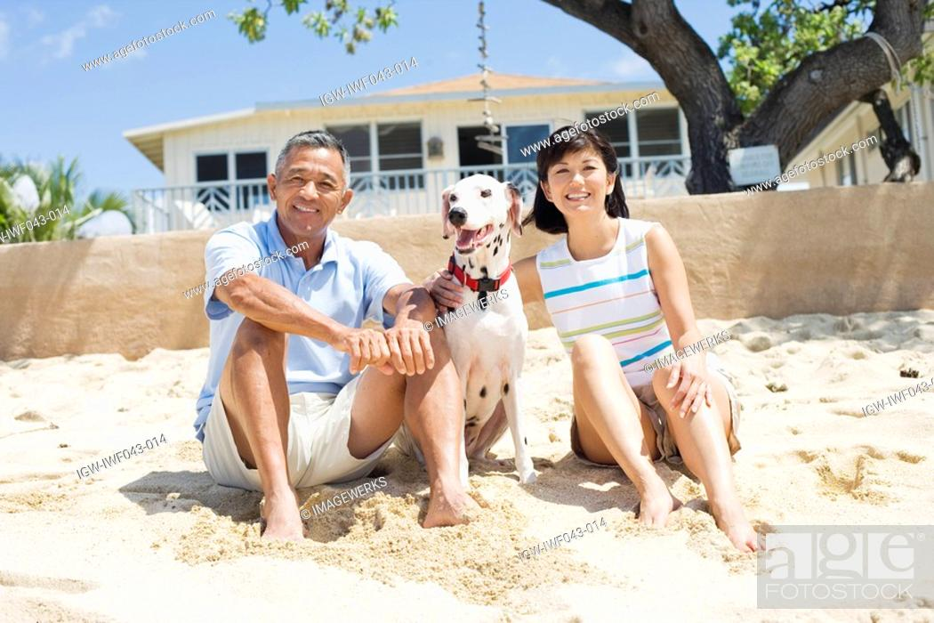 Stock Photo: View of a couple sitting with dog.