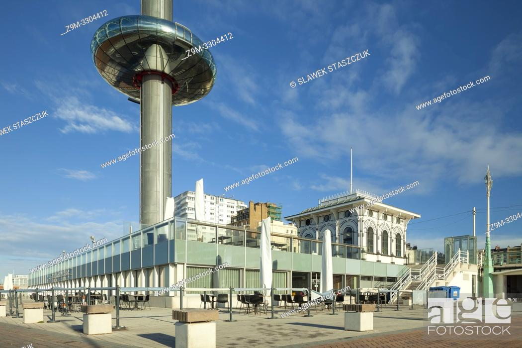 Stock Photo: Morning at i360 tower on Brighton seafront, East Sussex, England.