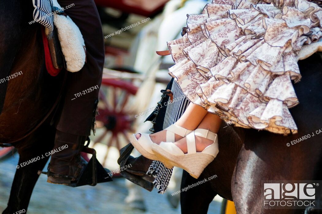 Stock Photo: Detail or riders in the April Fair in Seville.
