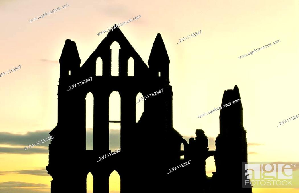 Stock Photo: Benedictine Whitby Abbey founded 657AD  Ruin on East Cliff of old port of Whitby, North Sea coast of North Yorkshire, England.
