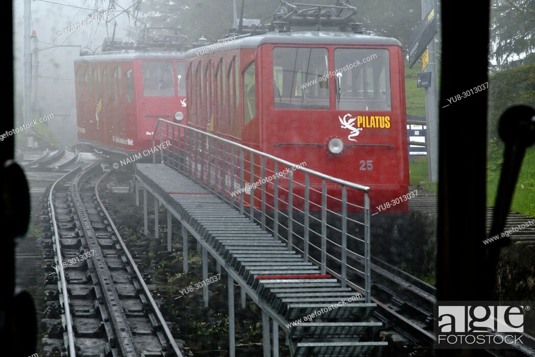 Stock Photo: World's steepest cogwheel railway, snow storms in May, Mount Pilatus, , Central Switzerland.