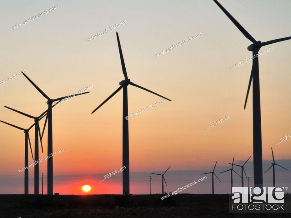 Stock Photo: Wind power plant near by Kavarna, Bulgaria.