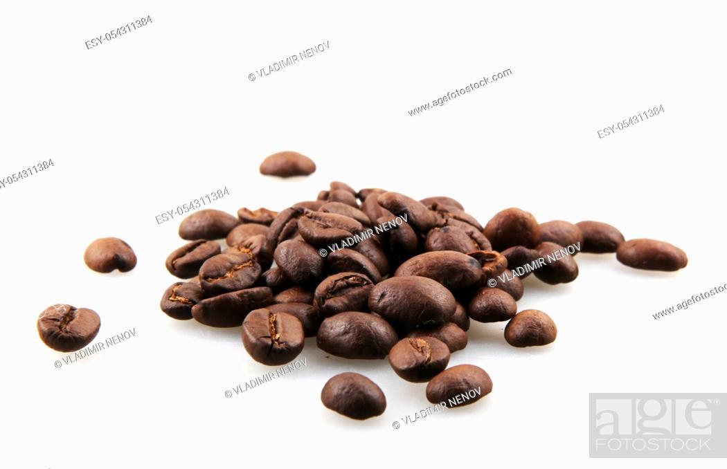 Stock Photo: Fresh Roasted Coffee Beans Isolated On White Background.