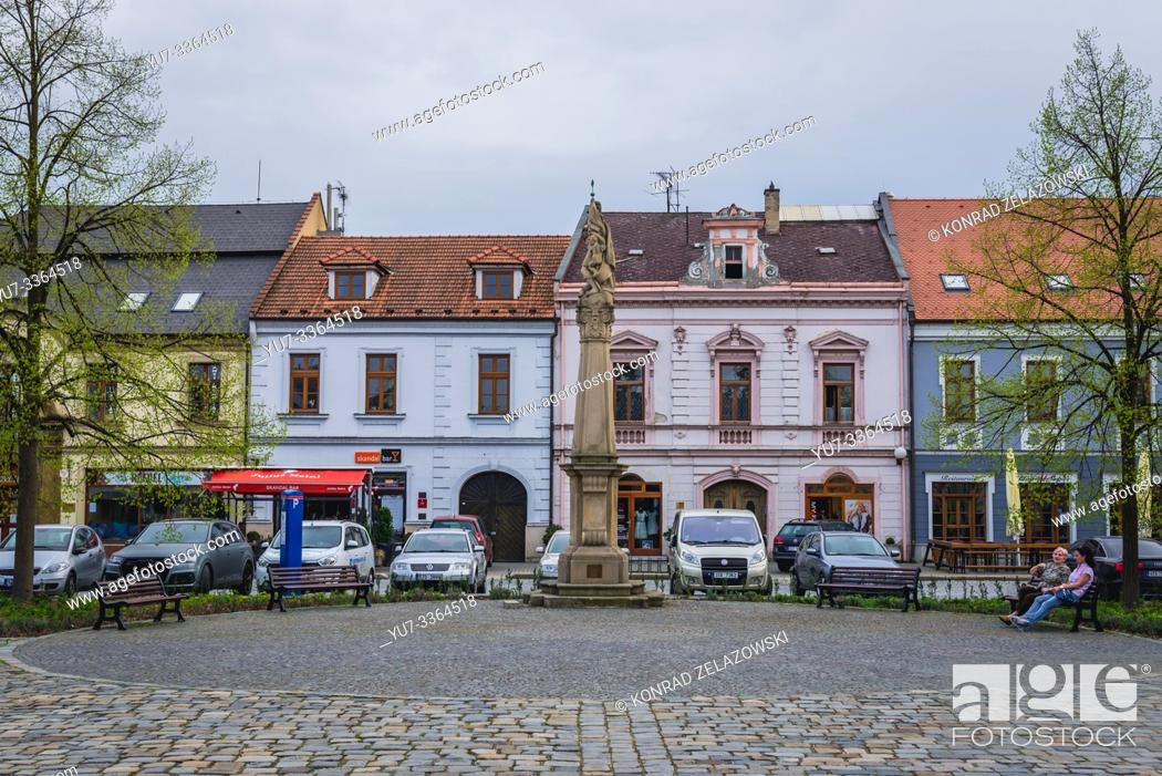 Stock Photo: Houses on the Marian Square in Uherske Hradiste city in Zlin Region, Moravia in Czech Republic.