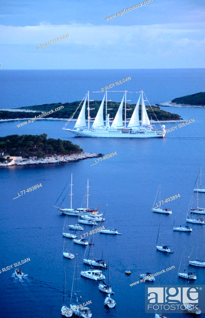 Stock Photo: Boats on Adriatic Sea. Hvar. Croatia.