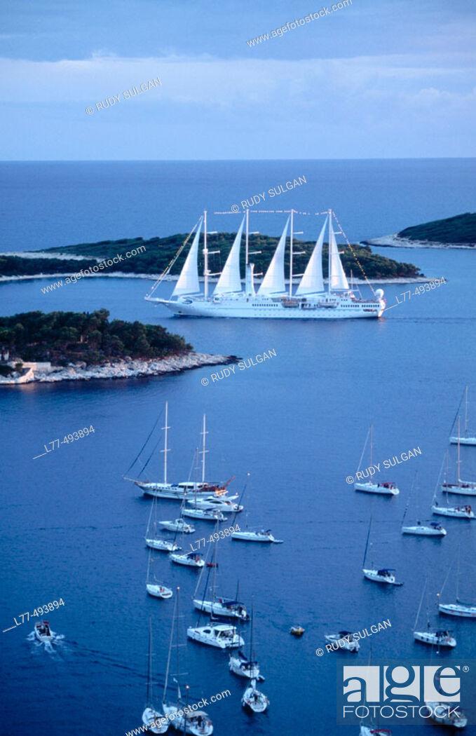 Stock Photo: Boats on Adriatic Sea. Hvar. Croatia.