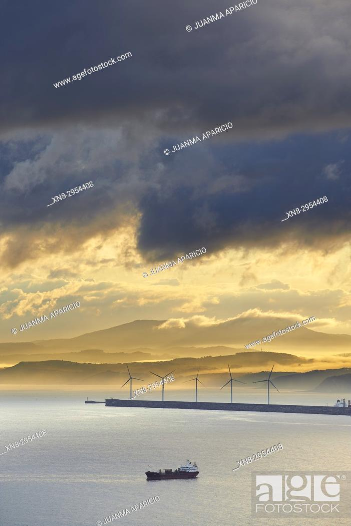 Stock Photo: Wind Turbines and Cargo Vessel in the Port of Bilbao, Biscay, Basque Country, Euskadi, Euskal Herria, Spain, Europe.