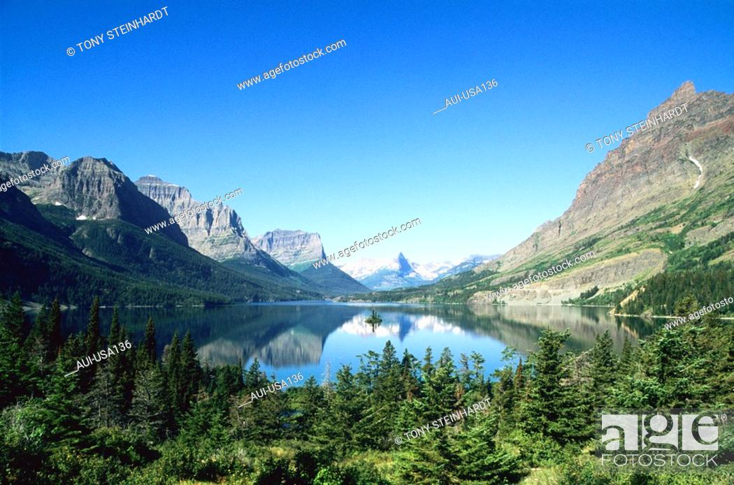 Stock Photo: USA - National Park - Glacier - Saint Mary Lake.