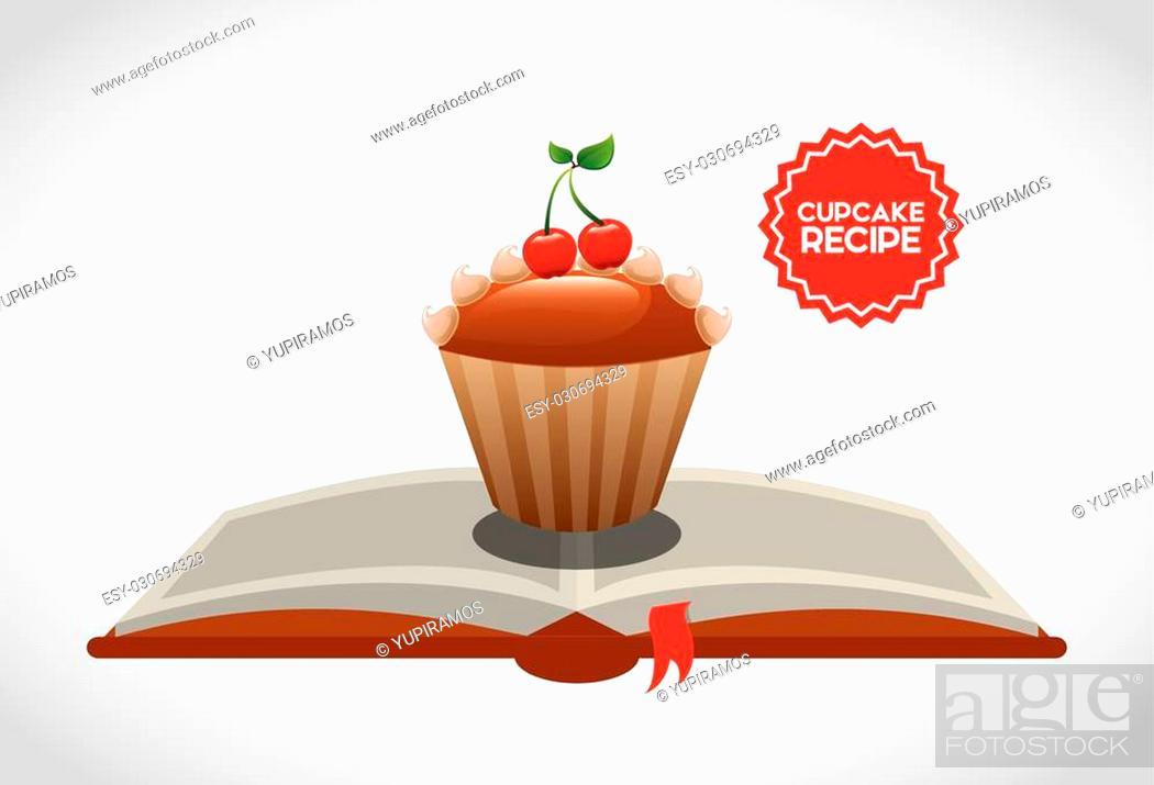 Stock Vector: cupcake recipe book design, vector illustration eps10 graphic.