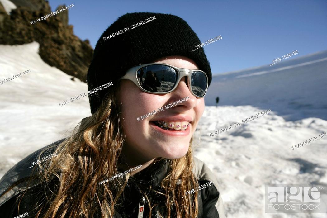 Stock Photo: Teenager girl on Langjokull Glacier, Iceland.