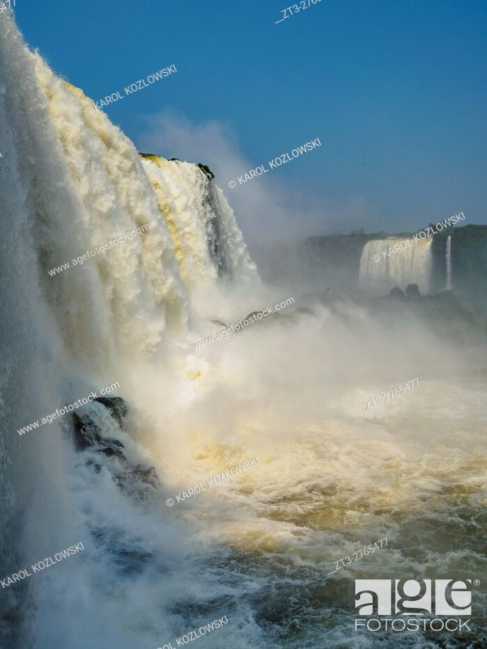 Stock Photo: Brazil, State of Parana, Foz do Iguacu, View of the Devil's Throat, part of Iguazu Falls.
