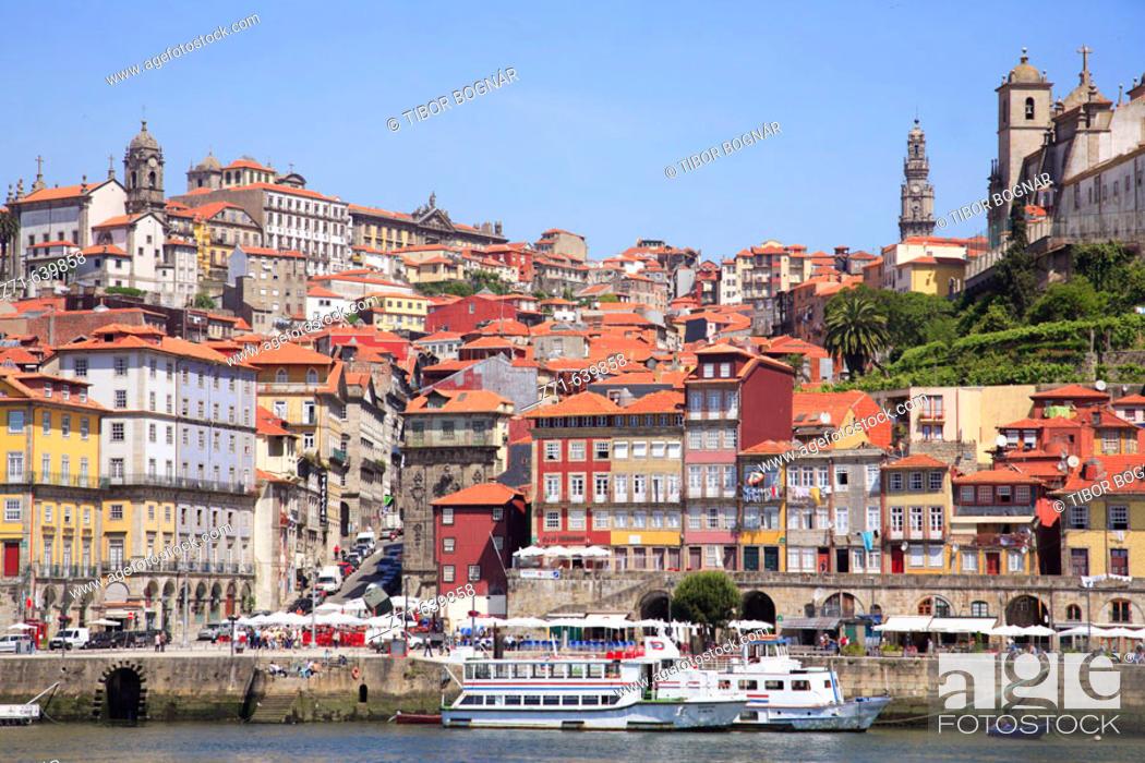 Stock Photo: Portugal, Douro, Porto, Ribeira district skyline, Douro river.