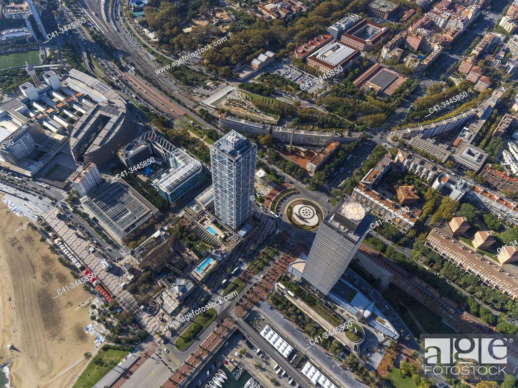 Stock Photo: Aerial view of the area of Vila Olimpica and Port Olimpic. Barcelona, Spain.