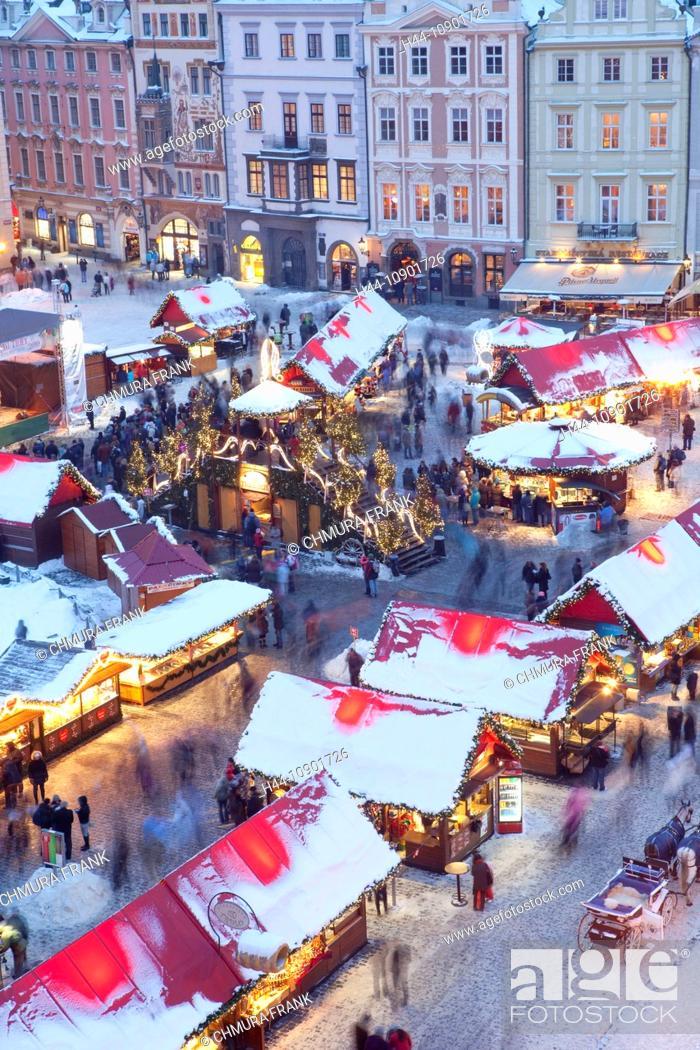 Stock Photo: architecture, Bohemia, building, Christianity, Christmas, church, city, Czech, decoration, Europe, gothic, historic, illuminated, landmark, lighting, market.