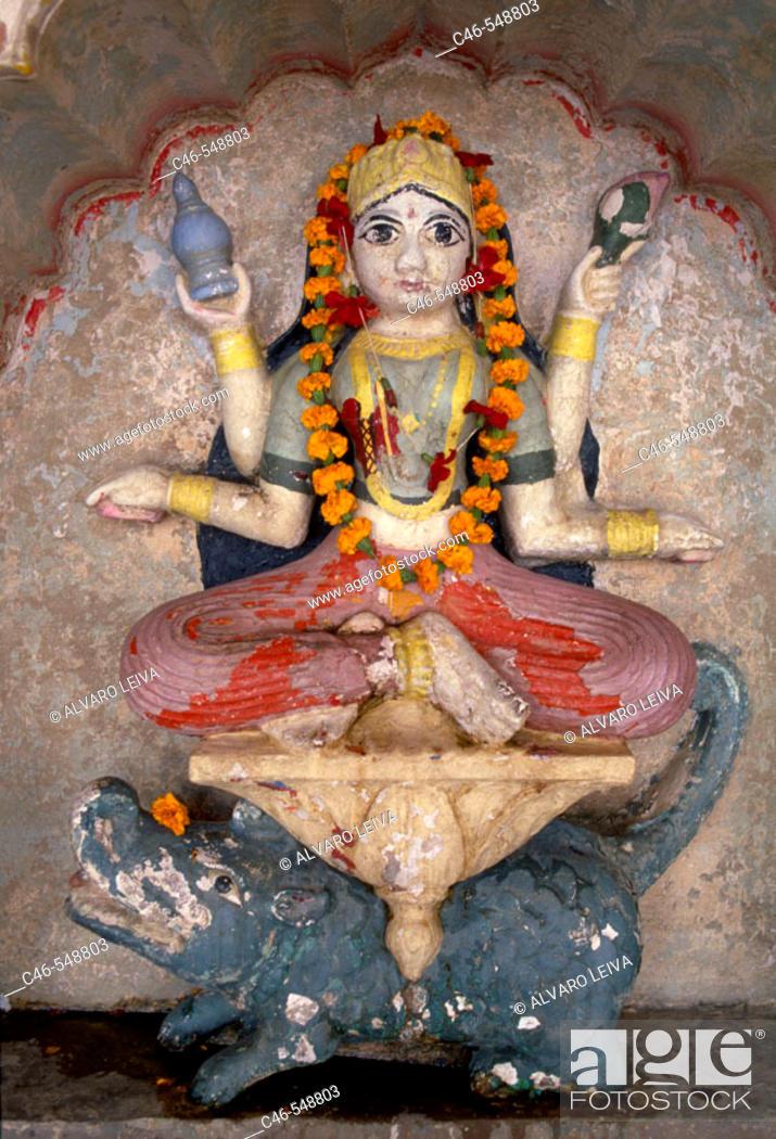 Stock Photo: Ganga goddess at Lalita ghat, Varanasi. Uttar Pradesh, India.