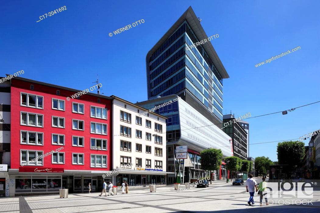 Stock Photo: Germany, Bochum, Ruhr area, Westphalia, North Rhine-Westphalia, NRW, Stadtbadgalerie in downtown, 'Bochumer Fenster', multifunctional building, pedestrian zone.