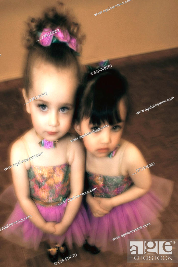 Stock Photo: Portrait of Young Girls in Dance Costumes.