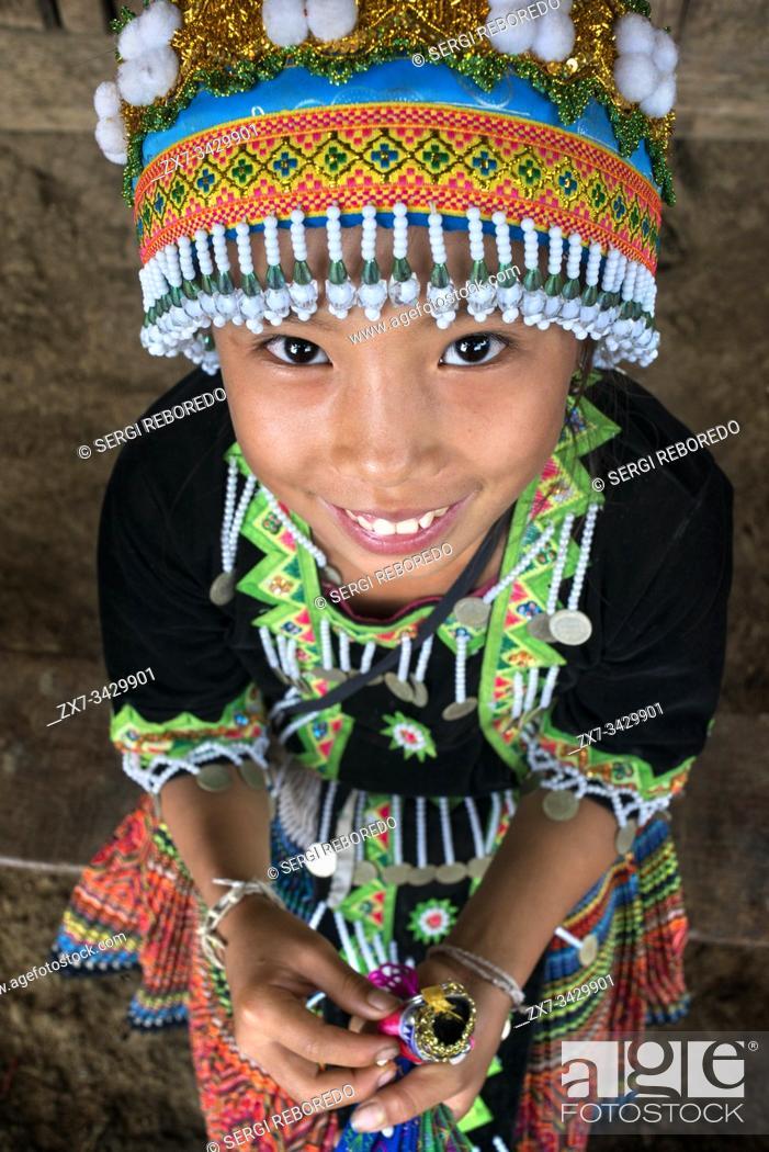 Stock Photo: Portrait of a Hmong girl near Luang Prabang Laos.