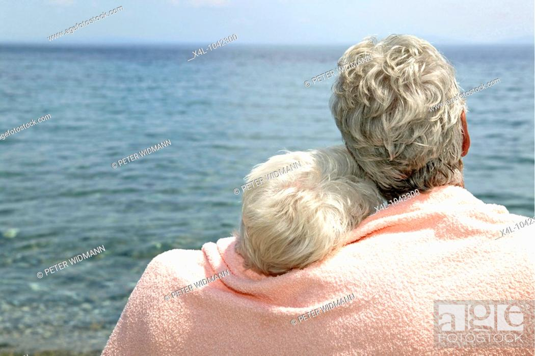 Stock Photo: happy senior couple on summer holiday.