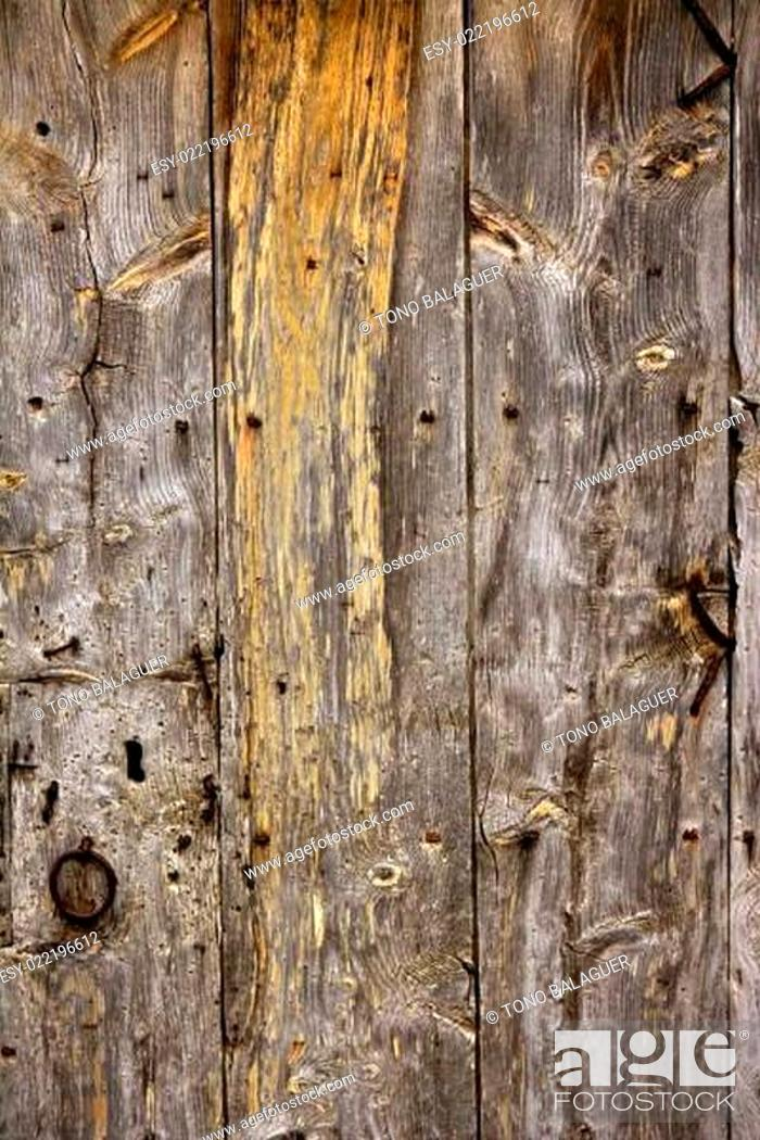 Stock Photo: Aged old wood texture, ancient wooden door.