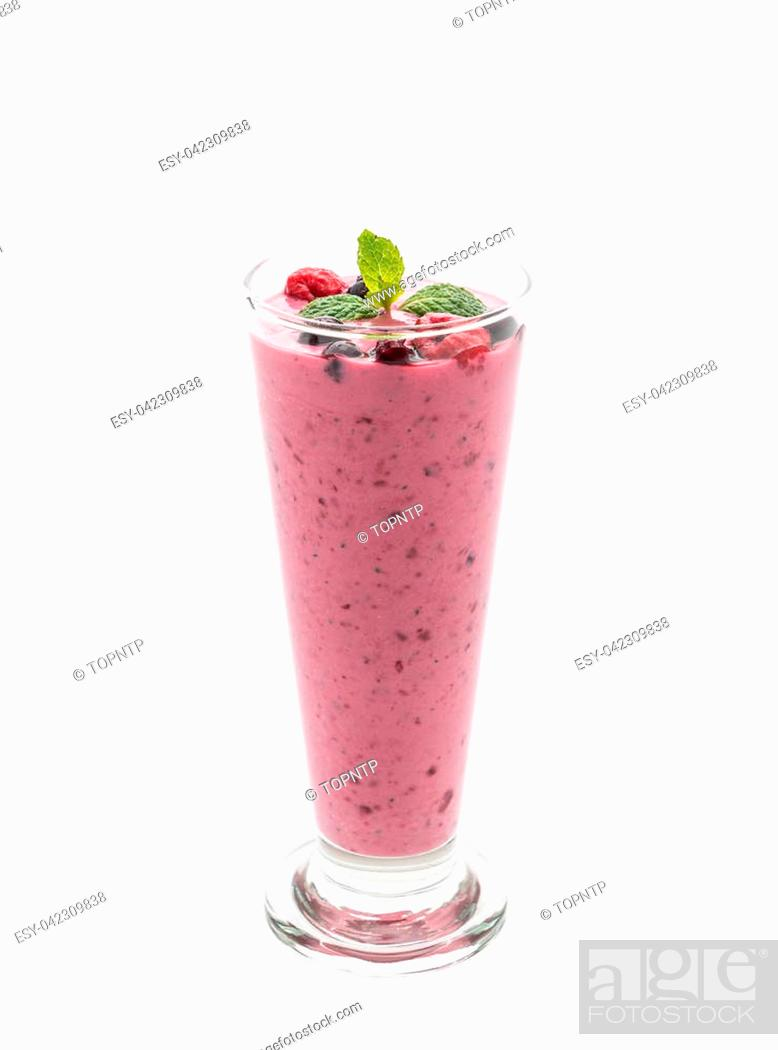 Stock Photo: mixed berries with yogurt smoothies on white background.