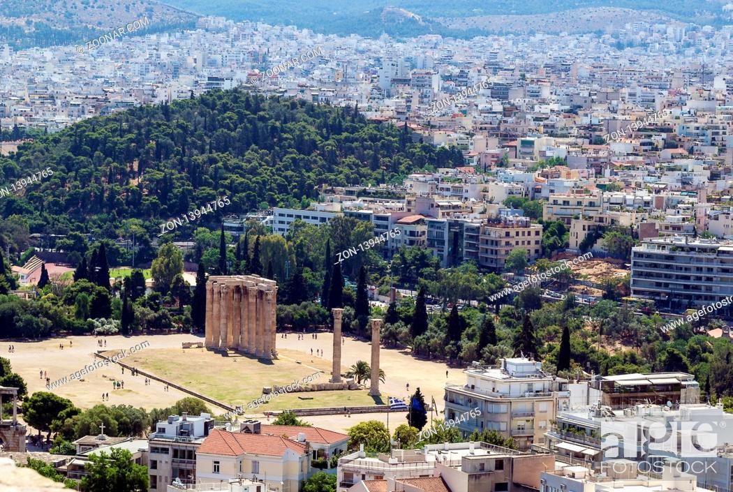 Stock Photo: view from the Acropolis on the temple of Olympian Zeus, Athens.