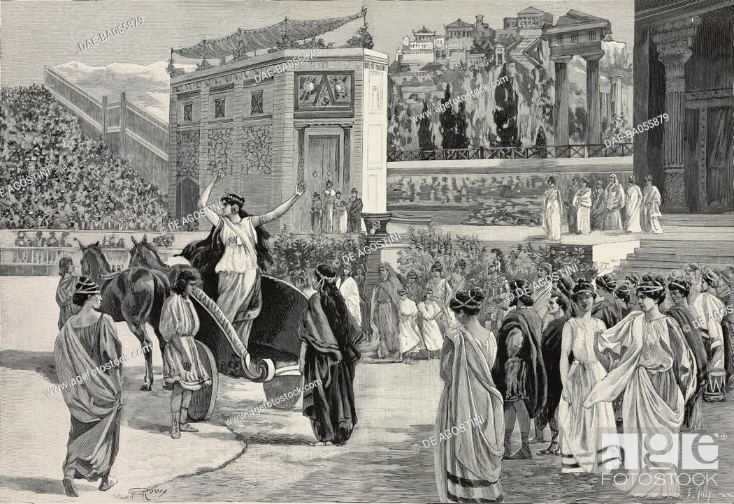 Stock Photo: Scene from the opera in four acts Dejanire by Louis Gallet (1835-1898), music by Camille Saint-Saens (1835-1921), arena of Beziers, France.