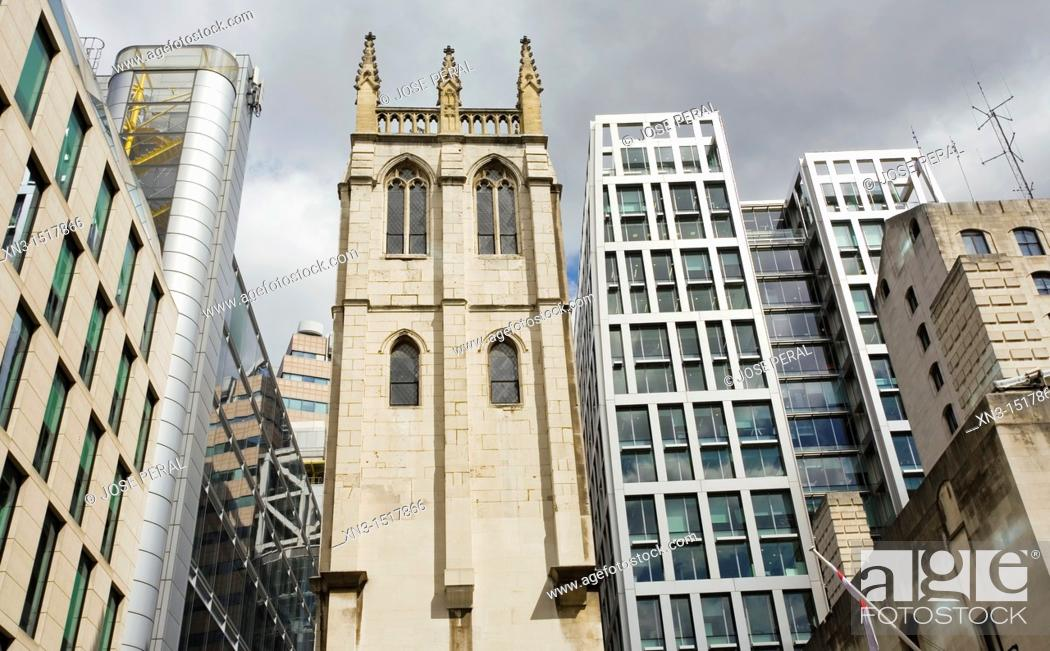 Stock Photo: St Alban tower, surrounded  by modern buildings, St Alban's was a church in Wood Street, City of London, London, England, UK.