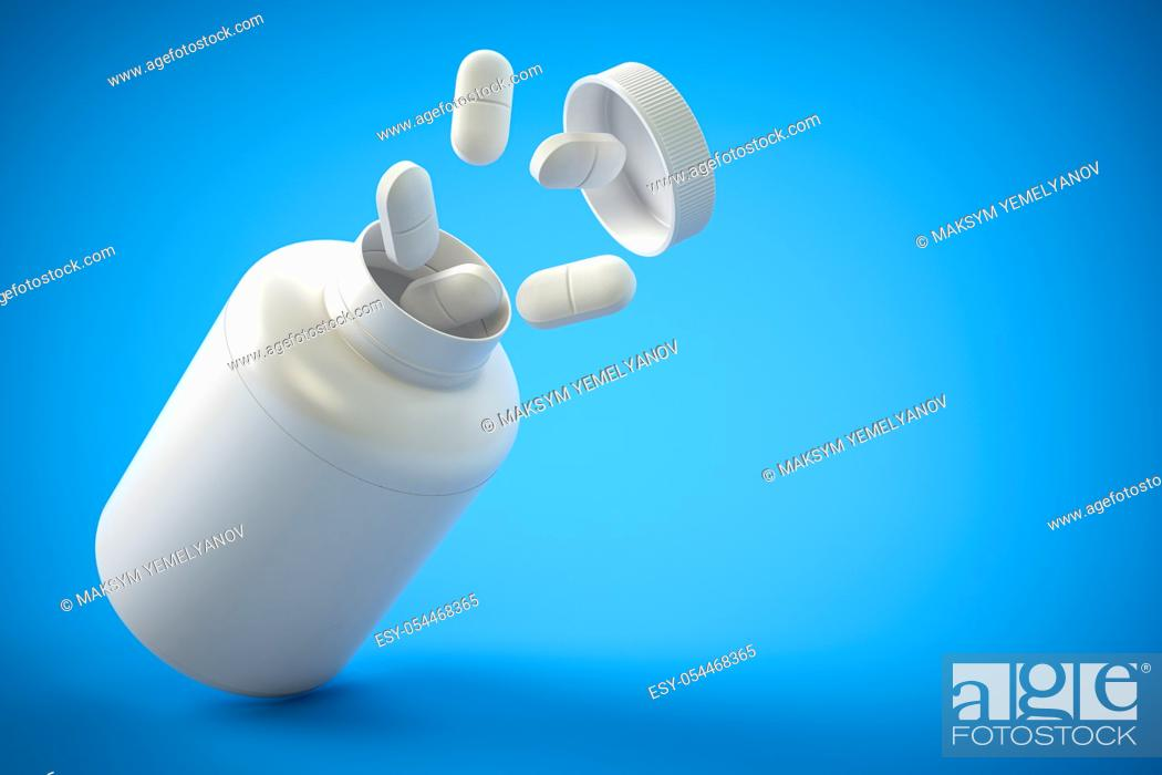 Stock Photo: Pills and pill bottle on yblue background with copy space. Prescription drugs. 3d ilustration.