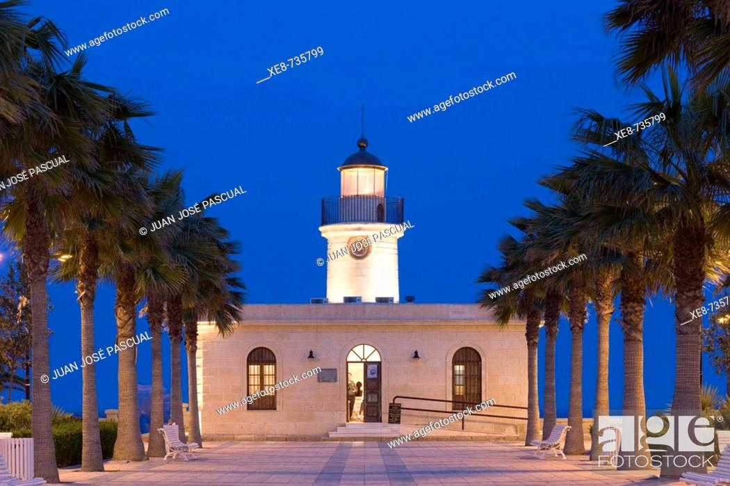 Stock Photo: Lighthouse, Roquetas de Mar. Almeria province, Andalucia, Spain.
