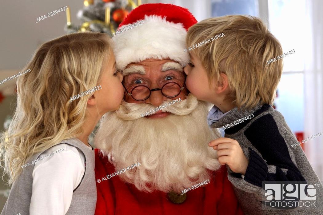Christmas, Nikolaus, smile, children, cheeks, kiss