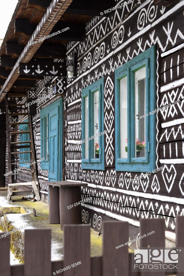 Stock Photo: Painted folk house, UNESCO village Cicmany in Slovakia.
