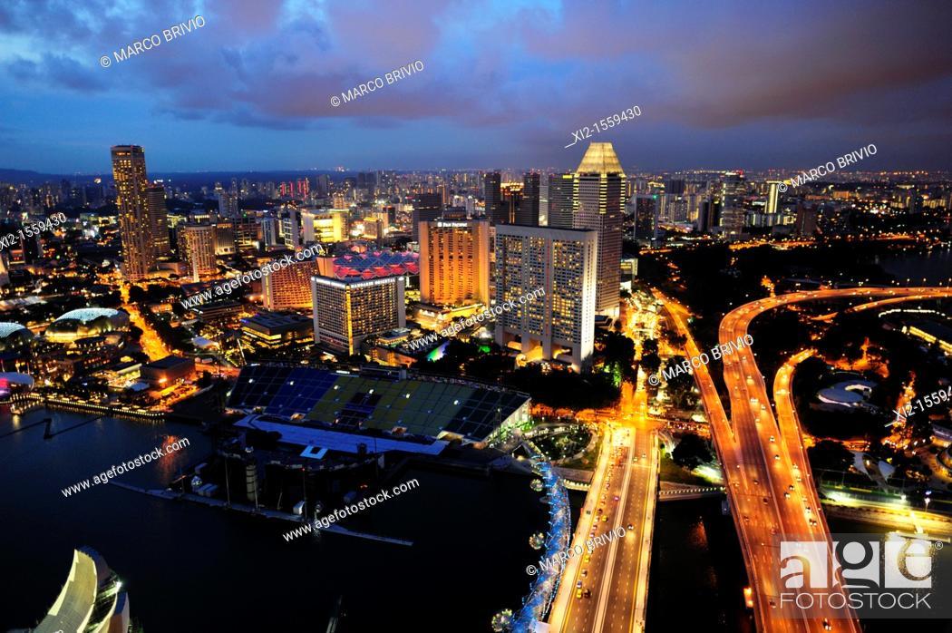 Stock Photo: Singapore Marina Bay cityscape at dusk.