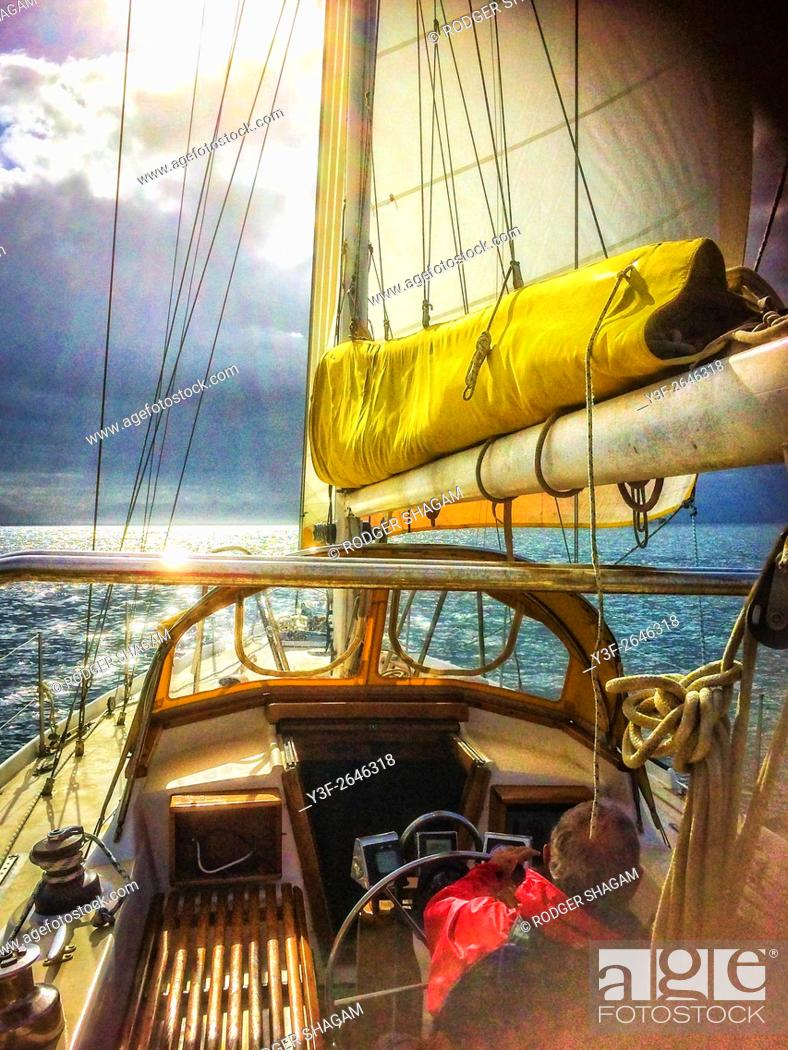Stock Photo: Sailing. A slow cruise on a light breeze.