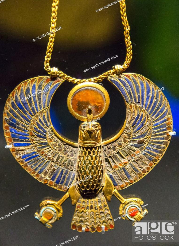 Stock Photo: Egypt, Cairo, Egyptian Museum, Tutankhamon jewellery, from his tomb in Luxor : A pectoral in the shape of a solar hawk.