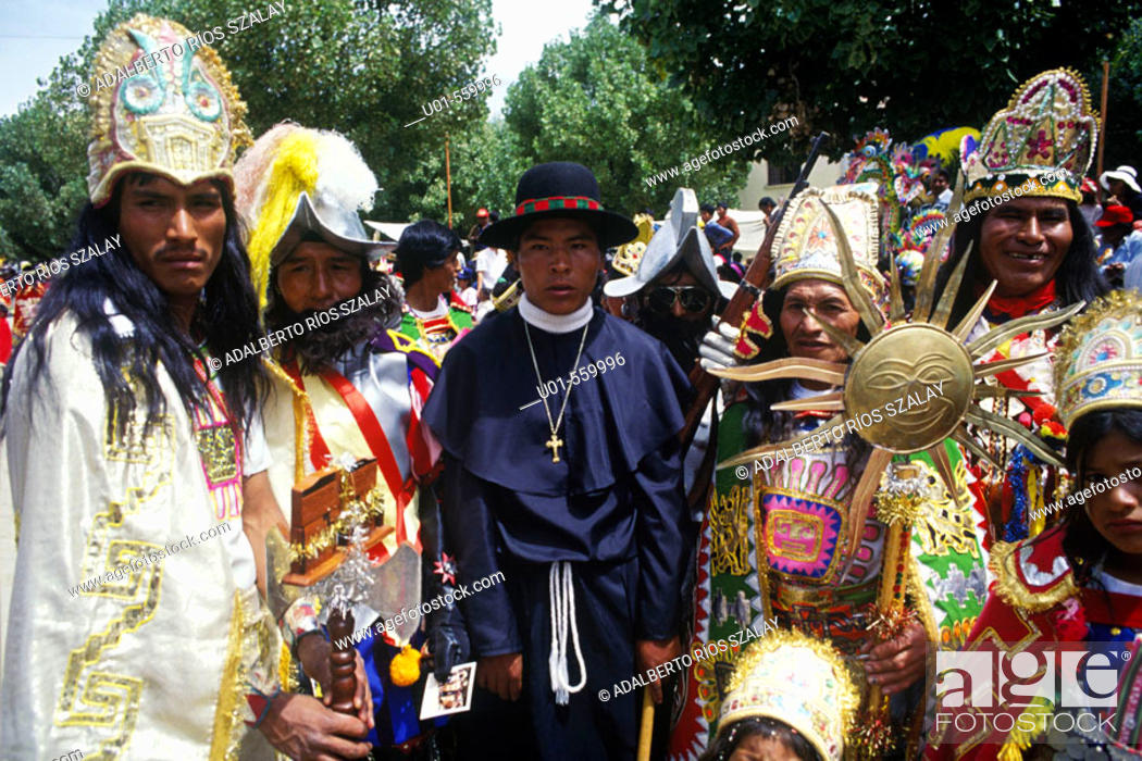 Stock Photo: Carnival characters from the Conquest. Oruro was a ceremonial centre from prehispanic times. In Paria, the first city in Bolivia founded by Spanish.