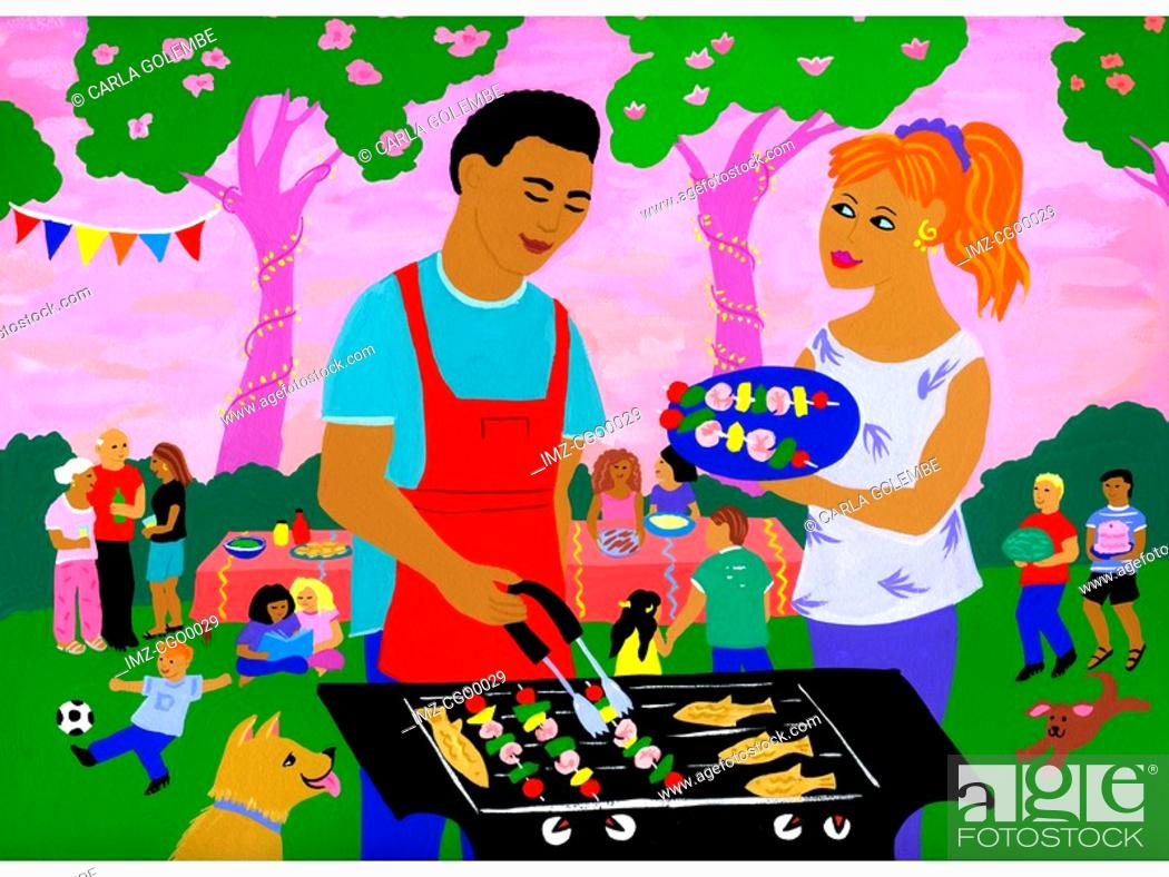 Stock Photo: Families having a barbeque in the park.