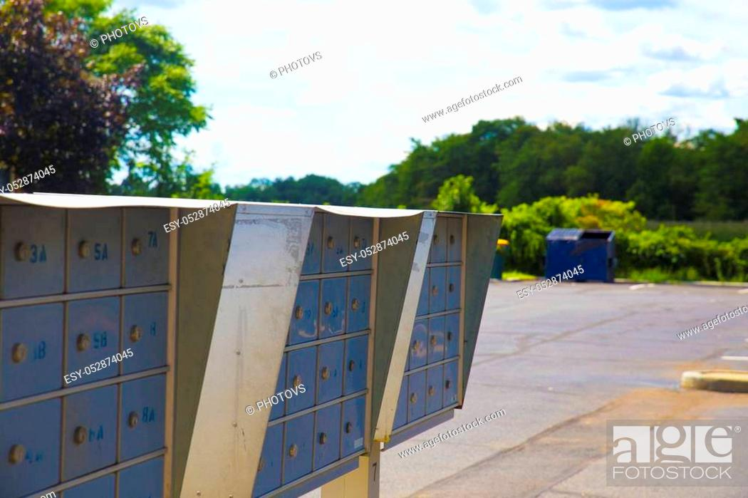 Stock Photo: metallic mailboxes. mailboxes mailbox, mail, metallic, metal lock delivery secure post.