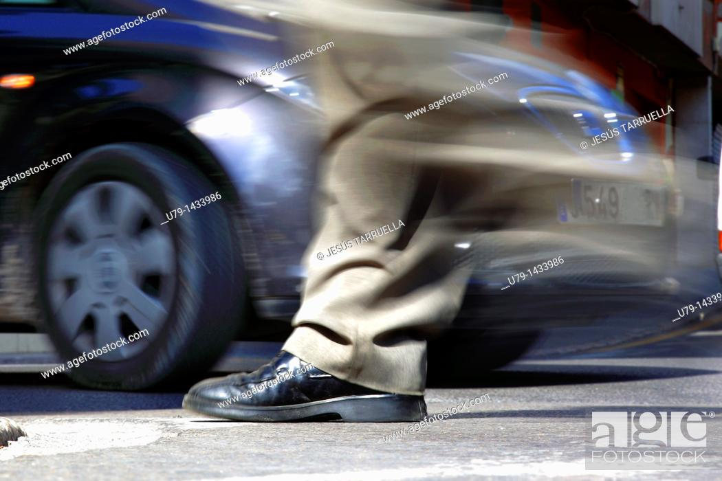 Stock Photo: Pedestrians at risk.