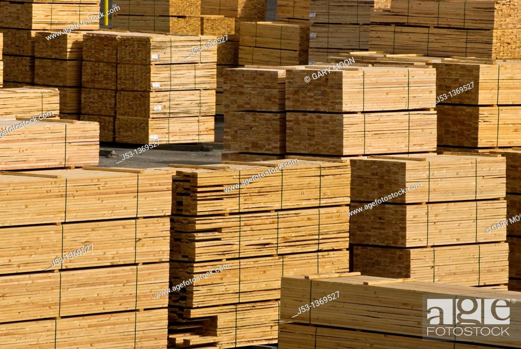 Lumber piles at sawmill, Coos County, Oregon, Stock Photo