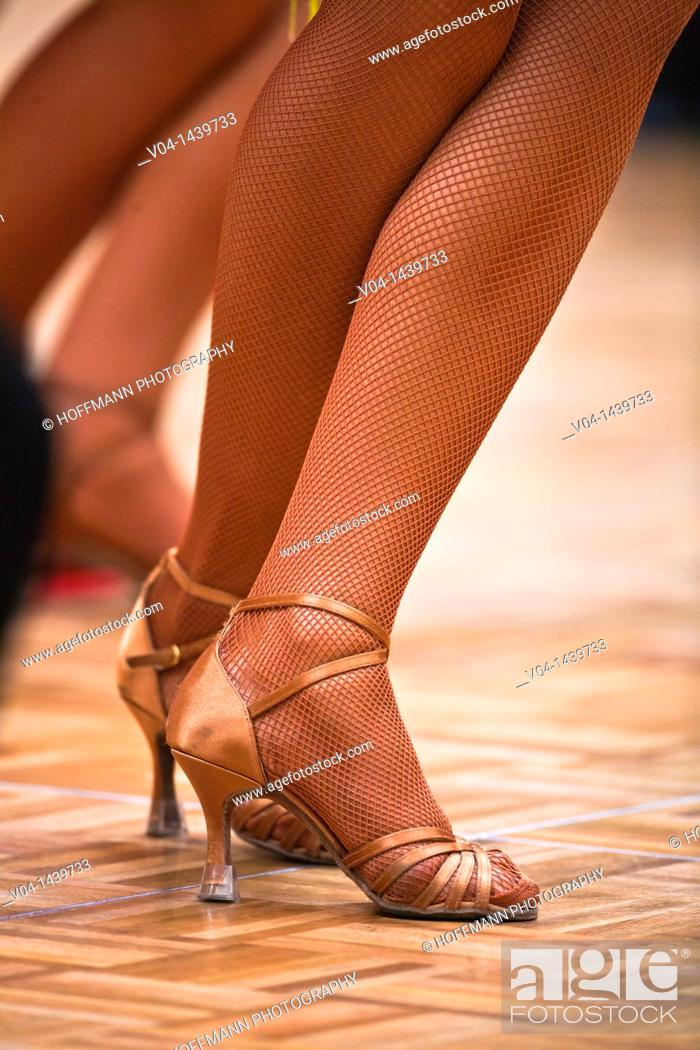 Stock Photo: Close up of the legs of a female dancer at a dancing competition, Germany, Europe.