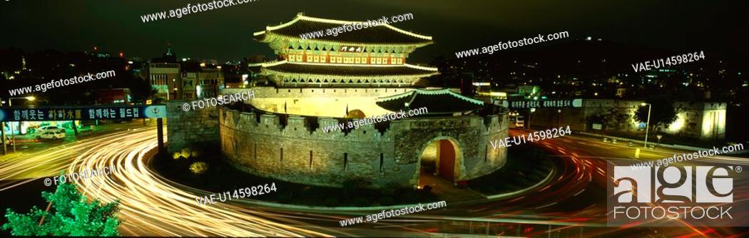 Stock Photo: jangan gate, scene, janganmun, korea, suwon, castle, landscape.