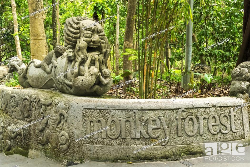 Stock Photo: Statue at the Sacred Monkey Forest Sanctuary, Ubud, Bali, Indonesia.