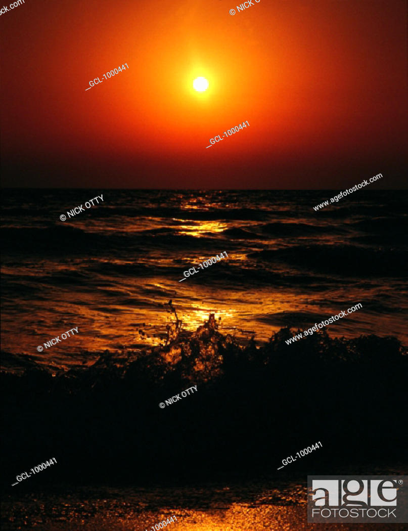 Stock Photo: Sunset over the sea.